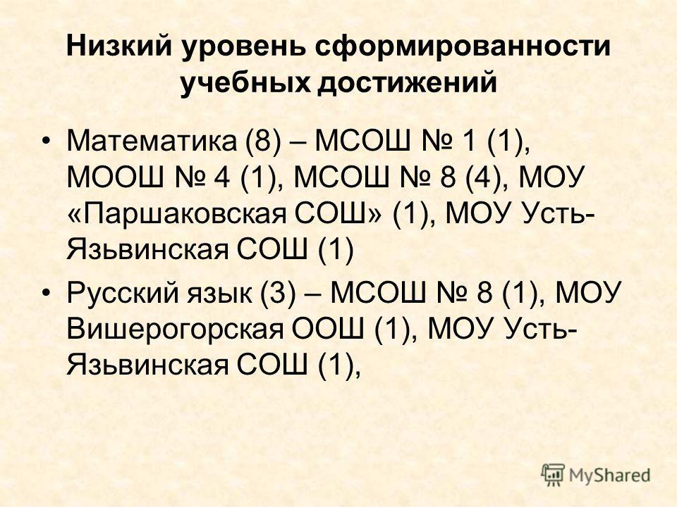 Низкий уровень сформированности учебных достижений Математика (8) – МСОШ 1 (1), МООШ 4 (1), МСОШ 8 (4), МОУ «Паршаковская СОШ» (1), МОУ Усть- Язьвинская СОШ (1) Русский язык (3) – МСОШ 8 (1), МОУ Вишерогорская ООШ (1), МОУ Усть- Язьвинская СОШ (1),