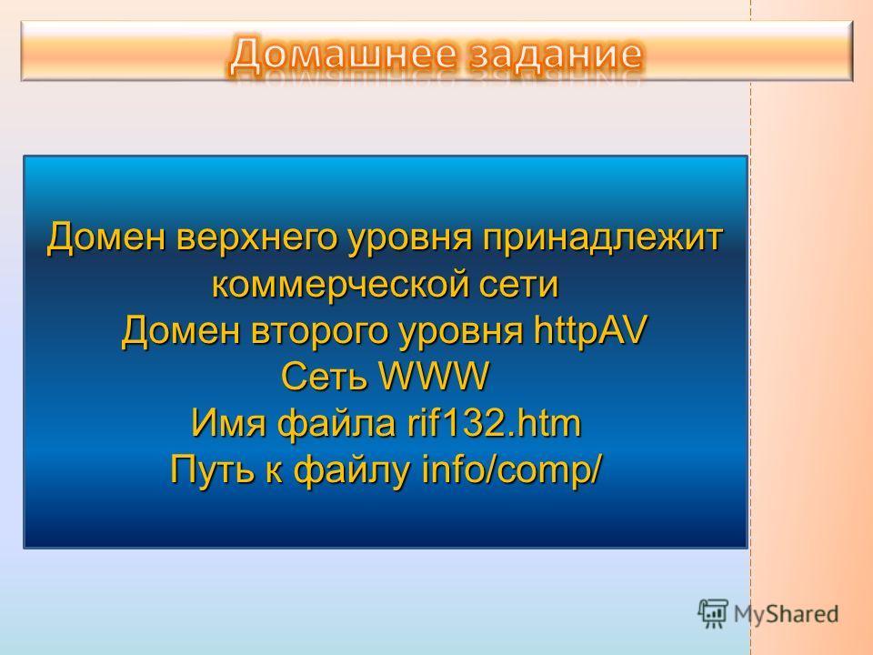 Домен верхнего уровня принадлежит коммерческой сети Домен второго уровня httpAV Сеть WWW Имя файла rif132.htm Путь к файлу info/comp/