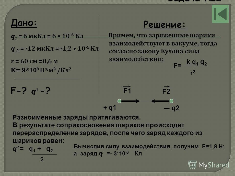 Дано: q 1 = 6 мкКл = 6 10 -6 Кл q 2 = -12 мкКл = -1,2 10 -5 Кл r = 60 см =0,6 м K= 9*10 9 Н * м 2 / Кл 2 F-? q' -? Решение: Примем, что заряженные шарики взаимодействуют в вакууме, тогда согласно закону Кулона сила взаимодействия : F= k q 1 q 2 r2r2