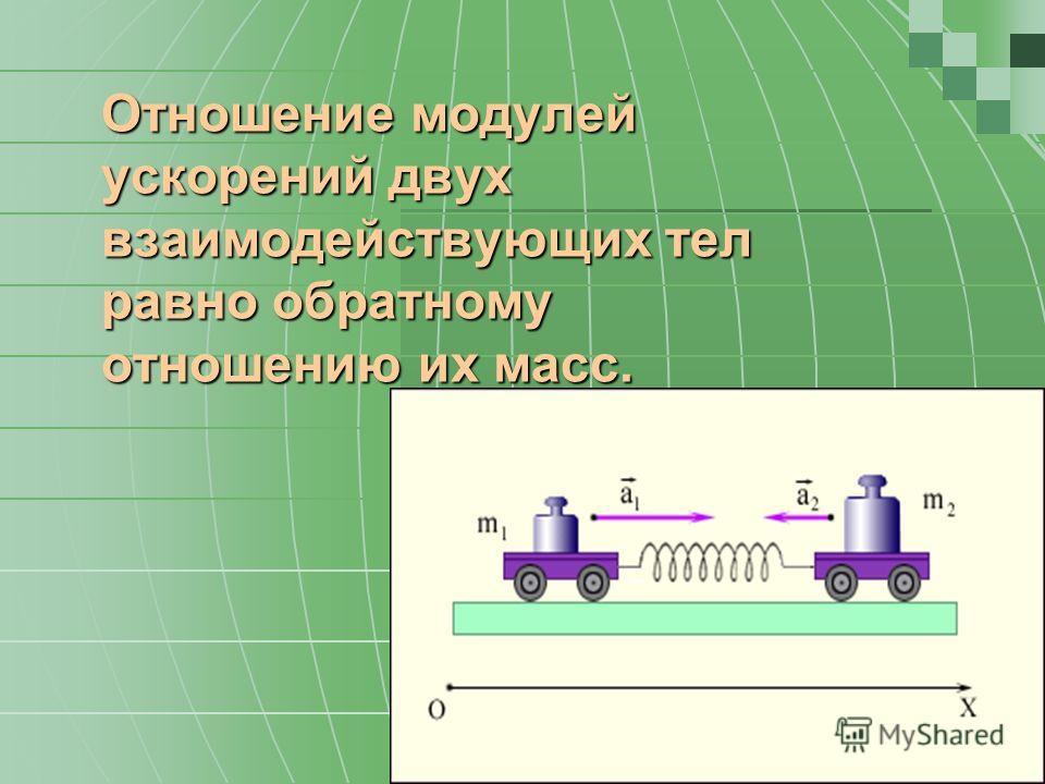 Отношение модулей ускорений двух взаимодействующих тел равно обратному отношению их масс.