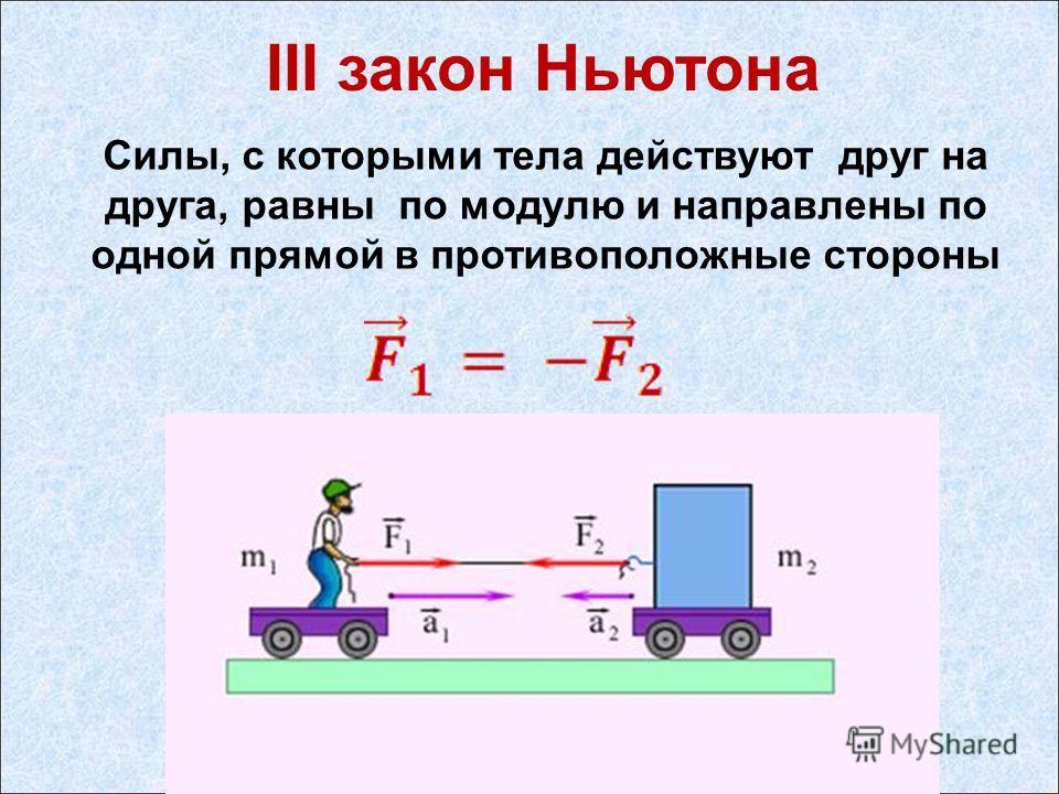 III закон Ньютона Силы, с которыми тела действуют друг на друга, равны по модулю и направлены по одной прямой в противоположные стороны