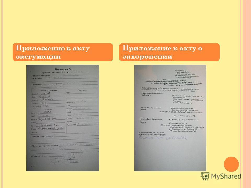 Приложение к акту эксгумации Приложение к акту о захоронении