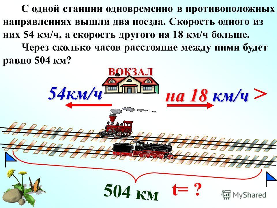 504 км на 18 км/ч на 18 км/ч > ВОКЗАЛ 54км/ч С одной станции одновременно в противоположных направлениях вышли два поезда. Скорость одного из них 54 км/ч, а скорость другого на 18 км/ч больше. Через сколько часов расстояние между ними будет равно 504