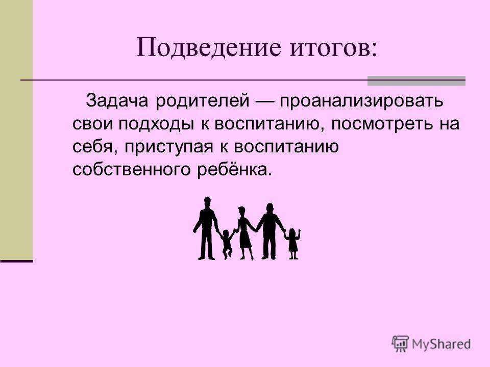 Подведение итогов: Задача родителей проанализировать свои подходы к воспитанию, посмотреть на себя, приступая к воспитанию собственного ребёнка.