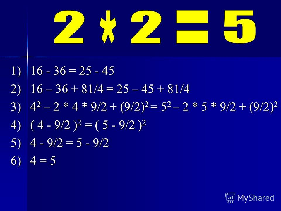 1) 16 - 36 = 25 - 45 2) 16 – 36 + 81/4 = 25 – 45 + 81/4 3) 4 2 – 2 * 4 * 9/2 + (9/2) 2 = 5 2 – 2 * 5 * 9/2 + (9/2) 2 4) ( 4 - 9/2 ) 2 = ( 5 - 9/2 ) 2 5) 4 - 9/2 = 5 - 9/2 6) 4 = 5