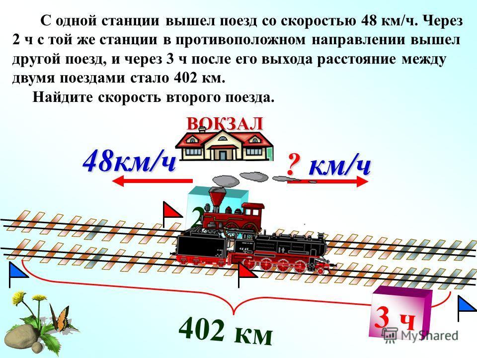 2 ч 402 км ? км/ч ВОКЗАЛ 48км/ч С одной станции вышел поезд со скоростью 48 км/ч. Через 2 ч с той же станции в противоположном направлении вышел другой поезд, и через 3 ч после его выхода расстояние между двумя поездами стало 402 км. Найдите скорость