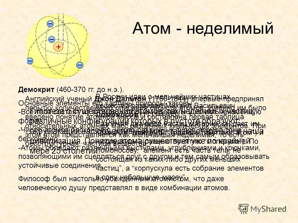 Атом - неделимый Гипотеза о существовании атомов, тех неделимых частиц, различные конфигурации которых в пустоте образуют окружающий нас объективный мир, так же стара, как и наша цивилизация. Понятие атома существует уже по крайней мере 25 столетий.