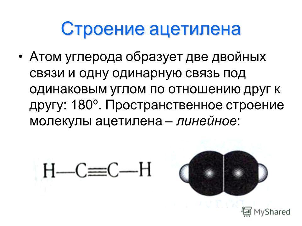 Строение ацетилена Атом углерода образует две двойных связи и одну одинарную связь под одинаковым углом по отношению друг к другу: 180º. Пространственное строение молекулы ацетилена – линейное: