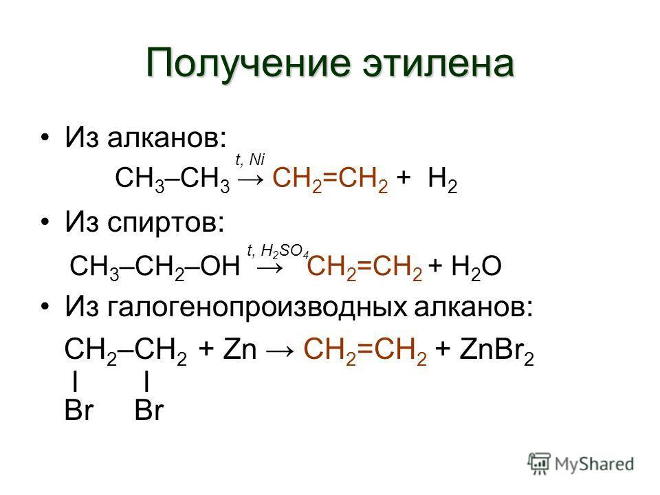 Получение этилена Из алканов: Этан этилен + Н 2 Из спиртов: Этанол этилен + Н 2 О Из галогенопроизводных алканов: СН 2 –СН 2 + Zn CH 2 =CH 2 + ZnBr 2 l l Br Br СН 3 –СН 3 СН 2 =СН 2 + Н 2 СН 3 –СН 2 –ОН СН 2 =СН 2 + Н 2 О t, Ni t, H 2 SO 4
