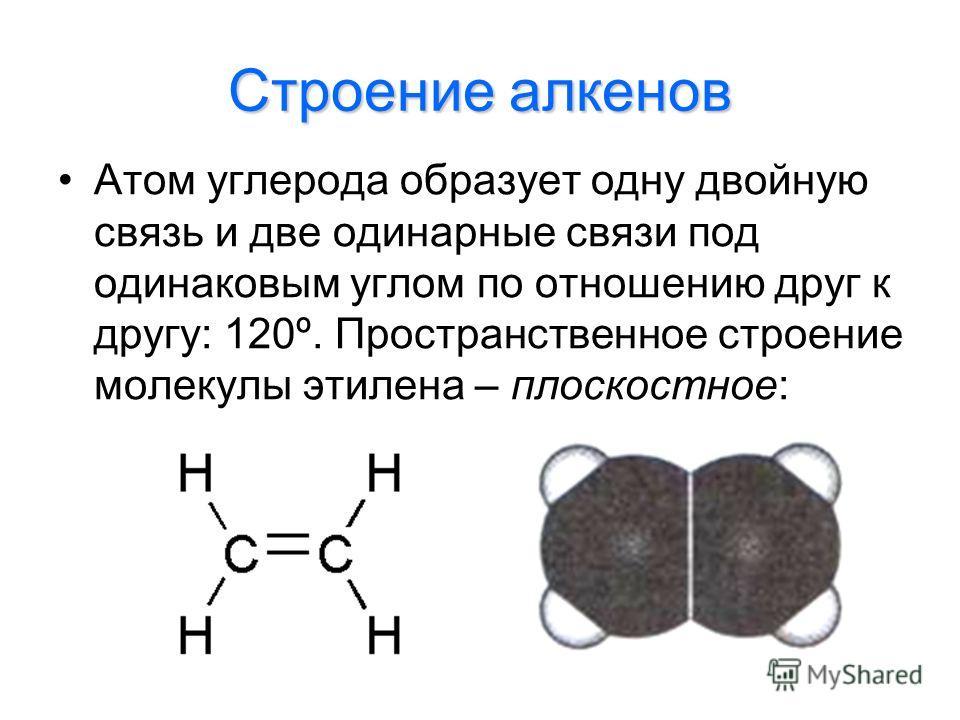 Строение алкенов Атом углерода образует одну двойную связь и две одинарные связи под одинаковым углом по отношению друг к другу: 120º. Пространственное строение молекулы этилена – плоскостное: