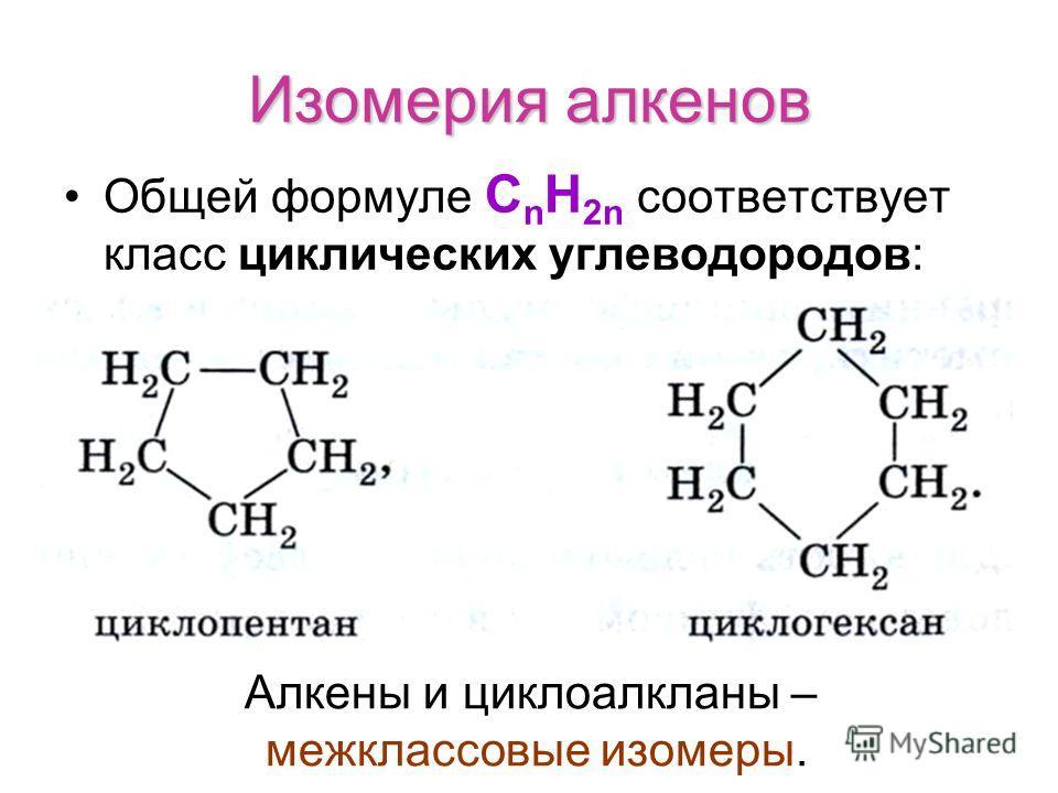 Изомерия алкенов Общей формуле С n H 2n соответствует класс циклических углеводородов: Алкены и циклоалкланы – межклассовые изомеры.