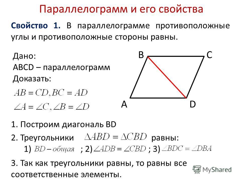 2. Треугольники равны: 1) ; 2) ; 3) Параллелограмм и его свойства Свойство 1. В параллелограмме противоположные углы и противоположные стороны равны. A BC D Дано: АВСD – параллелограмм Доказать: 1. Построим диагональ BD 3. Так как треугольники равны,
