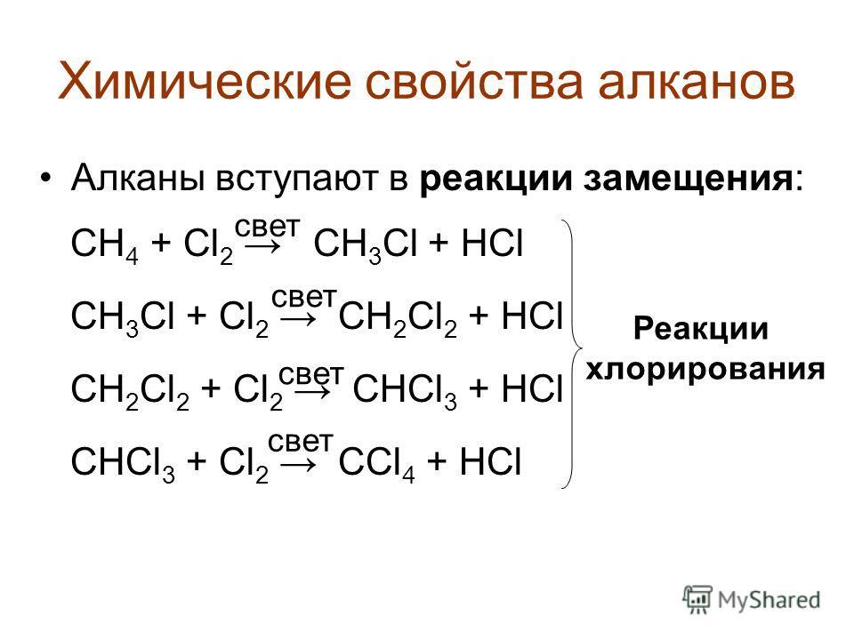 Химические свойства алканов Алканы вступают в реакции замещения: СН 4 + Cl 2 CH 3 Cl + HCl CH 3 Cl + Cl 2 CH 2 Cl 2 + HCl CH 2 Cl 2 + Cl 2 CHCl 3 + HCl CHCl 3 + Cl 2 CCl 4 + HCl Реакции хлорирования свет
