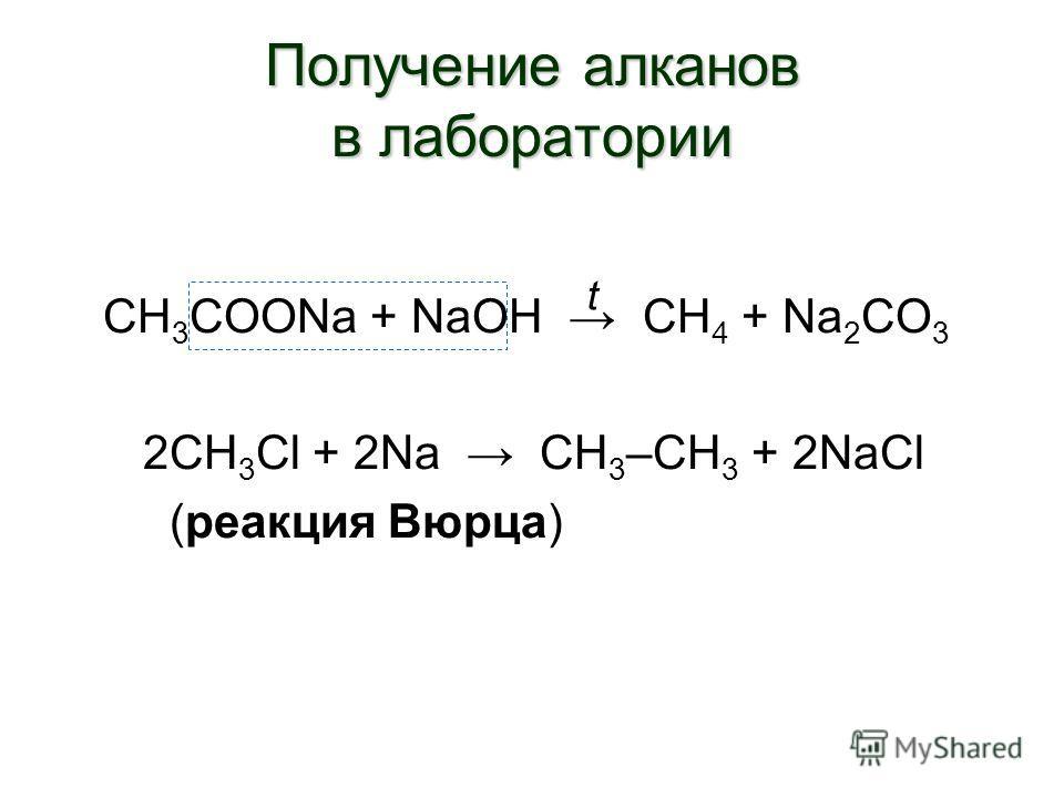 Получение алканов в лаборатории СН 3 СООNa + NaOH CH 4 + Na 2 CO 3 2CH 3 Cl + 2Na CH 3 –CH 3 + 2NaCl (реакция Вюрца) t