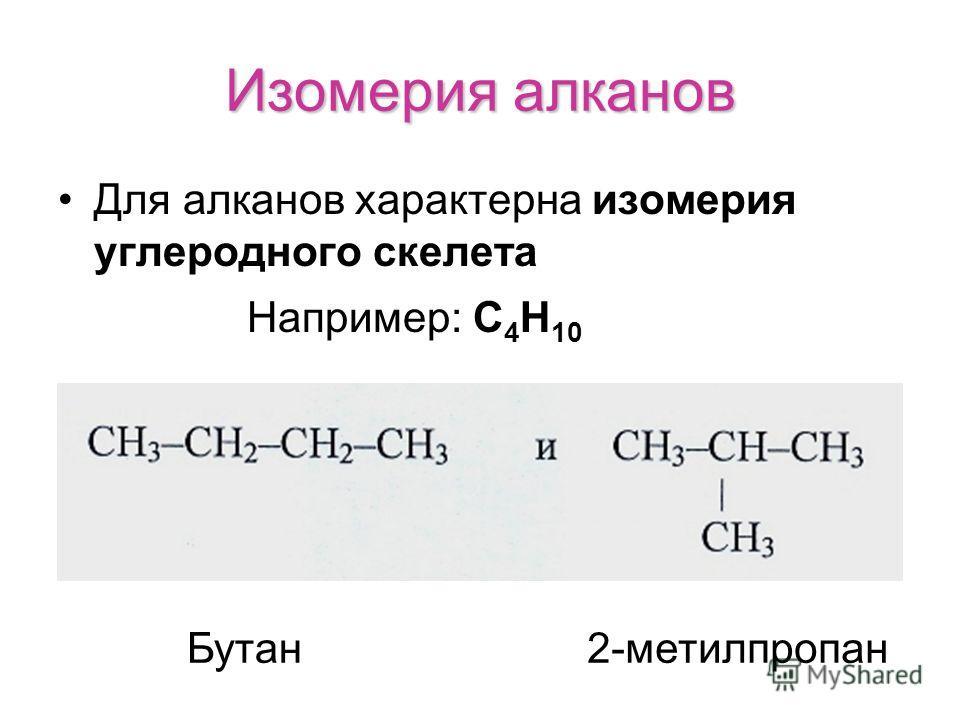 Изомерия алканов Для алканов характерна изомерия углеродного скелета Например: С 4 Н 10 Бутан2-метилпропан