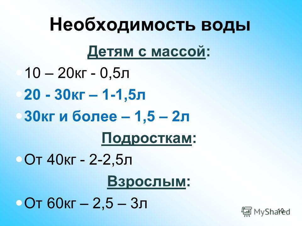 Необходимость воды Детям с массой: 10 – 20кг - 0,5л 20 - 30кг – 1-1,5л 30кг и более – 1,5 – 2л Подросткам: От 40кг - 2-2,5л Взрослым: От 60кг – 2,5 – 3л 10