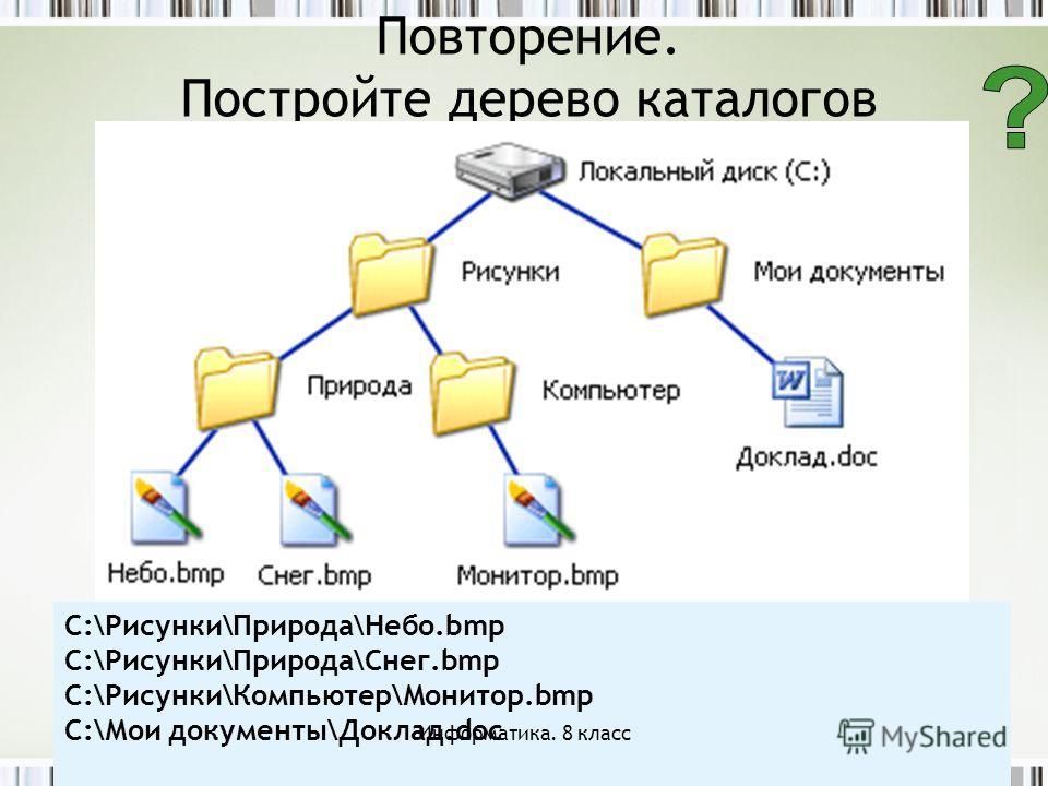 Повторение. Постройте дерево каталогов C:\Рисунки\Природа\Небо.bmp C:\Рисунки\Природа\Снег.bmp C:\Рисунки\Компьютер\Монитор.bmp C:\Мои документы\Доклад.doc Информатика. 8 класс
