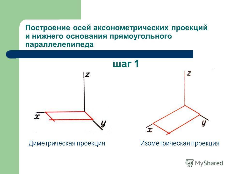 Построение осей аксонометрических проекций и нижнего основания прямоугольного параллелепипеда шаг 1 Диметрическая проекция Изометрическая проекция