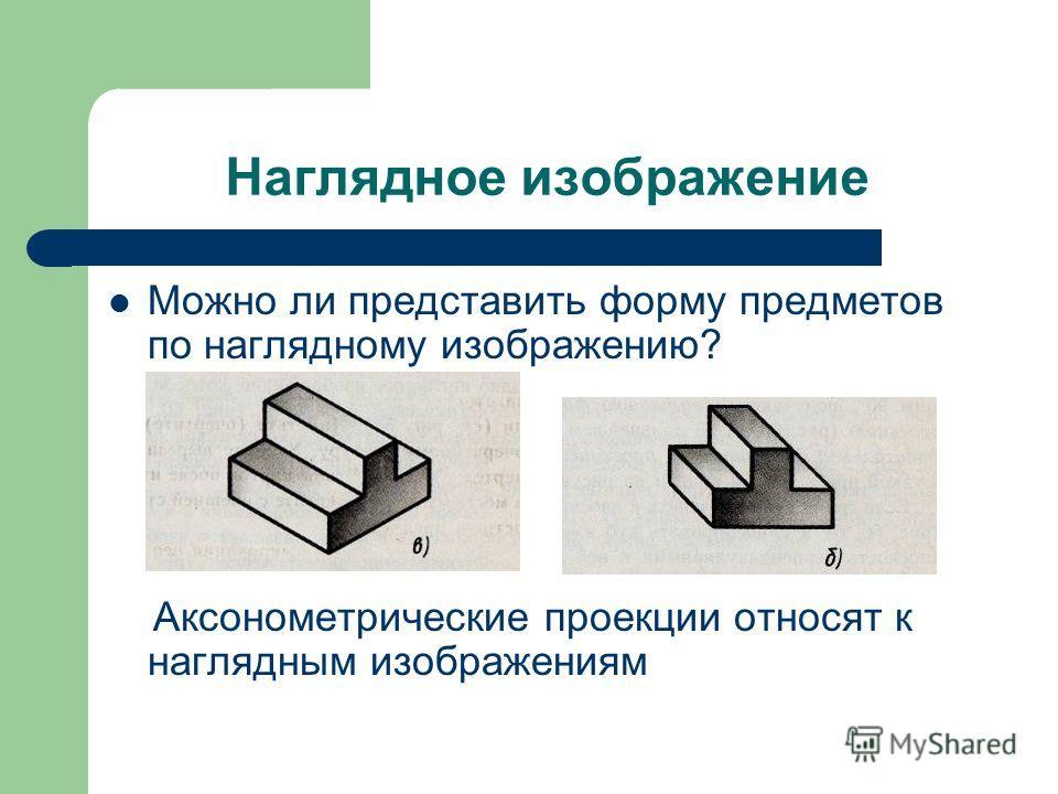 Наглядное изображение Можно ли представить форму предметов по наглядному изображению? Аксонометрические проекции относят к наглядным изображениям