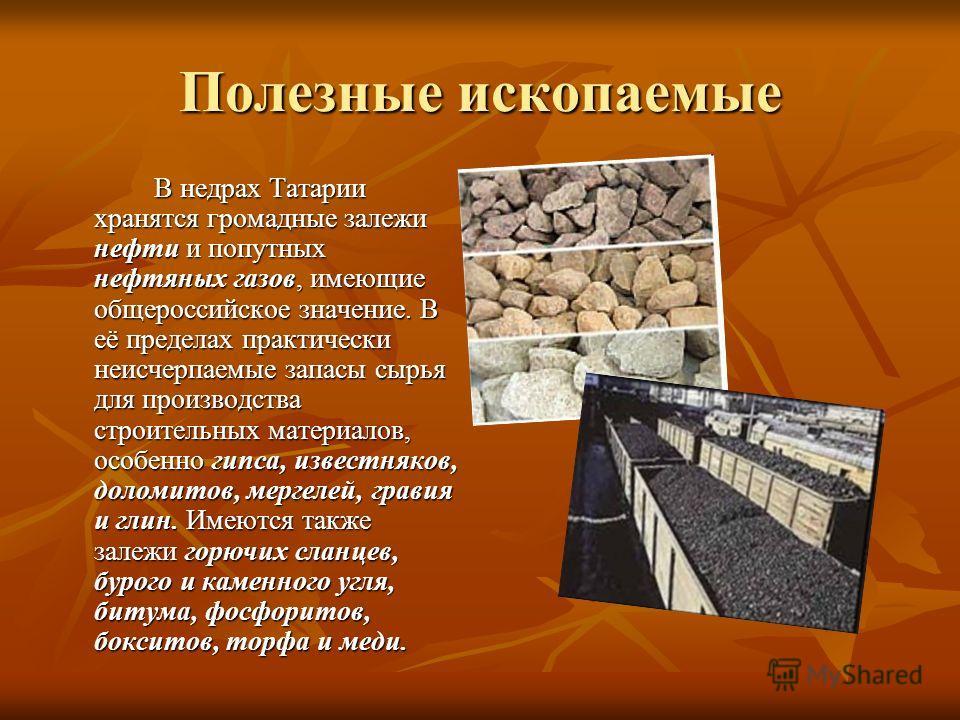 Полезные ископаемые В недрах Татарии хранятся громадные залежи нефти и попутных нефтяных газов, имеющие общероссийское значение. В её пределах практически неисчерпаемые запасы сырья для производства строительных материалов, особенно гипса, известняко