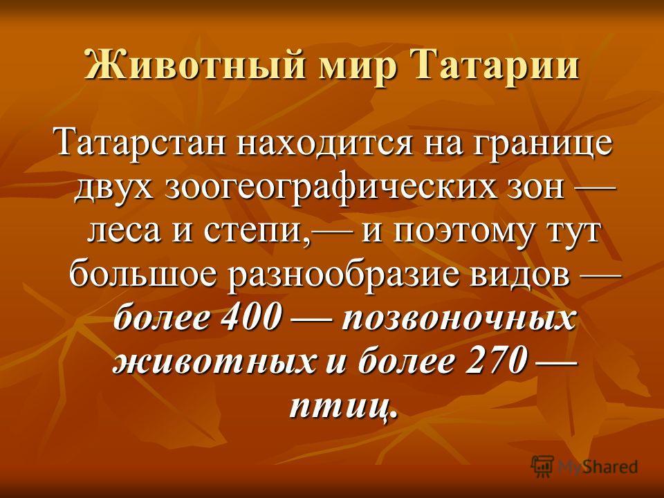 Животный мир Татарии Татарстан находится на границе двух зоогеографических зон леса и степи, и поэтому тут большое разнообразие видов более 400 позвоночных животных и более 270 птиц.