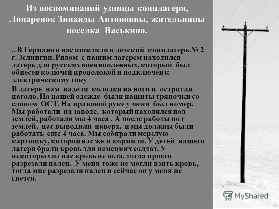 Из воспоминаний узницы концлагеря, Лопаренок Зинаиды Антоновны, жительницы поселка Васькино.... В Германии нас поселили в детский концлагерь 2 г.Эслингин. Рядом с нашим лагерем находился лагерь для русских военнопленных, который был обнесен колючей п