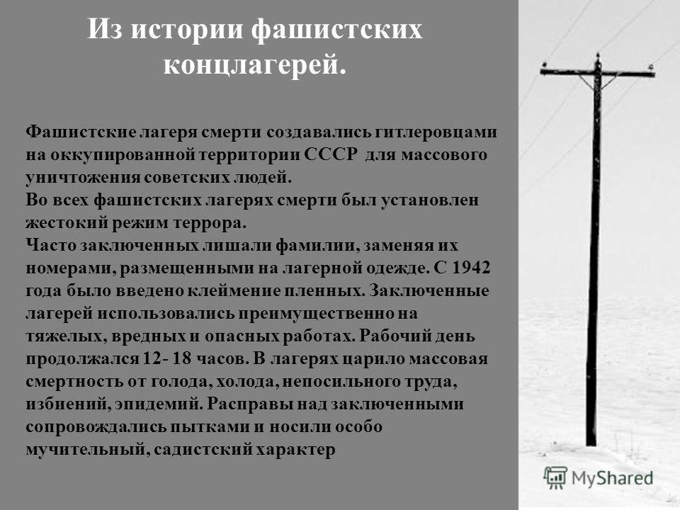 Из истории фашистских концлагерей. Фашистские лагеря смерти создавались гитлеровцами на оккупированной территории СССР для массового уничтожения советских людей. Во всех фашистских лагерях смерти был установлен жестокий режим террора. Часто заключенн