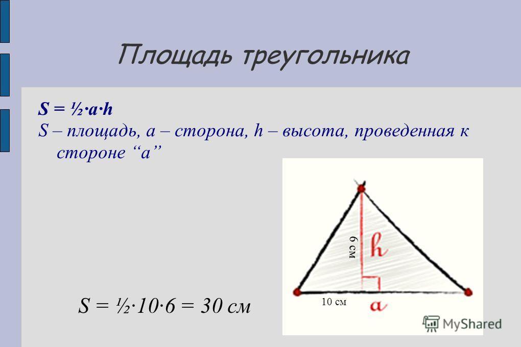 Площадь треугольника S = ½ah S – площадь, a – сторона, h – высота, проведенная к стороне a 10 см 6 см S = ½·10·6 = 30 см