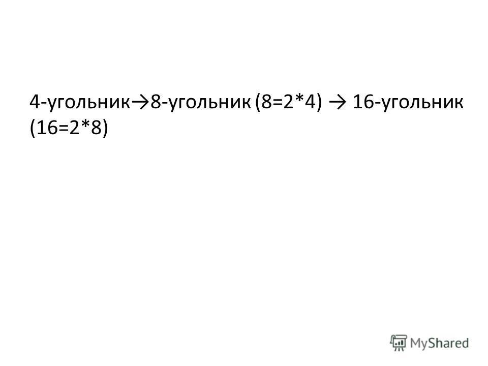 4-угольник8-угольник (8=2*4) 16-угольник (16=2*8)