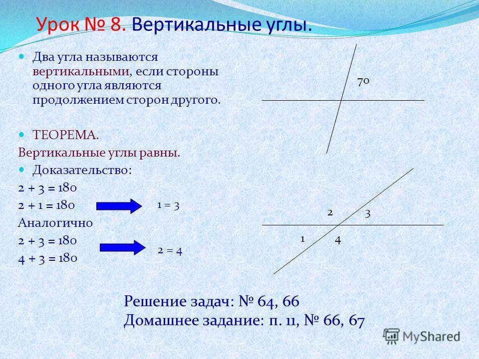 Урок 8. Вертикальные углы. Два угла называются вертикальными, если стороны одного угла являются продолжением сторон другого. ТЕОРЕМА. Вертикальные углы равны. Доказательство: 2 + 3 = 180 2 + 1 = 180 Аналогично 2 + 3 = 180 4 + 3 = 180 70 1 23 4 1 = 3