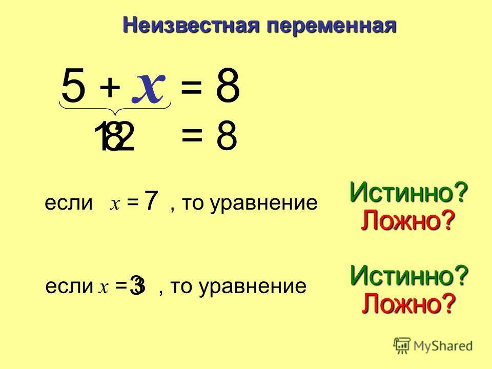 Неизвестная переменная 5 + x = 8 Уравнение левая сторонаправой стороне Если: левая сторона правой стороне = то уравнениеистинно левая сторонаправой стороне Если: левая сторона правой стороне то уравнениеложно Найти неизвестное, которое делает уравнен