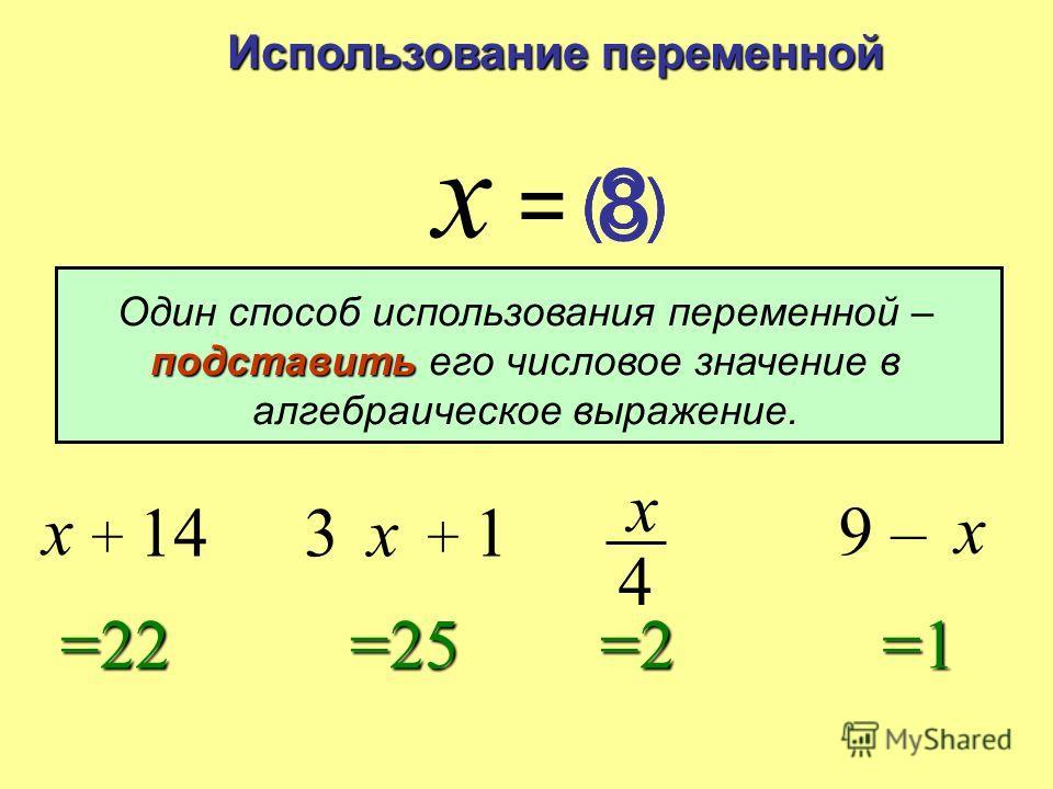 Алгебраическое выражение Алгебраическим выражением называется выражение, содержащее переменные. x + 143x + 19 – x x 4 означает 3 × x означает x : 4x : 4x : 4x : 4