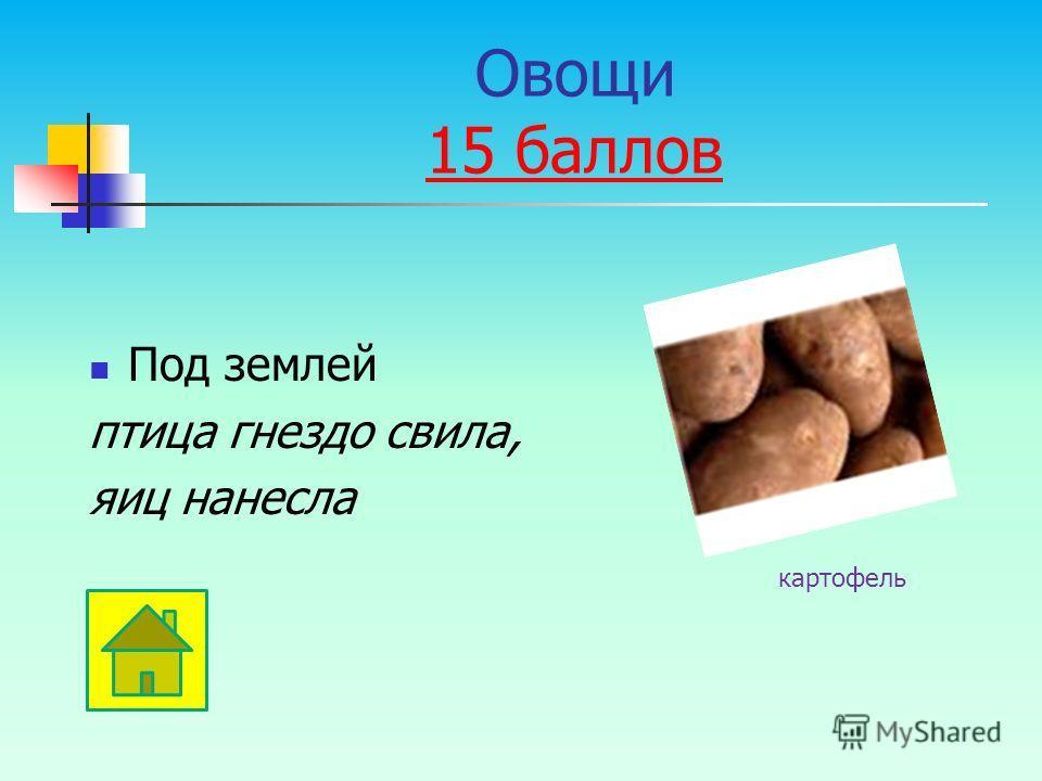 Под землей птица гнездо свила, яиц нанесла картофель Овощи 15 баллов 15 баллов