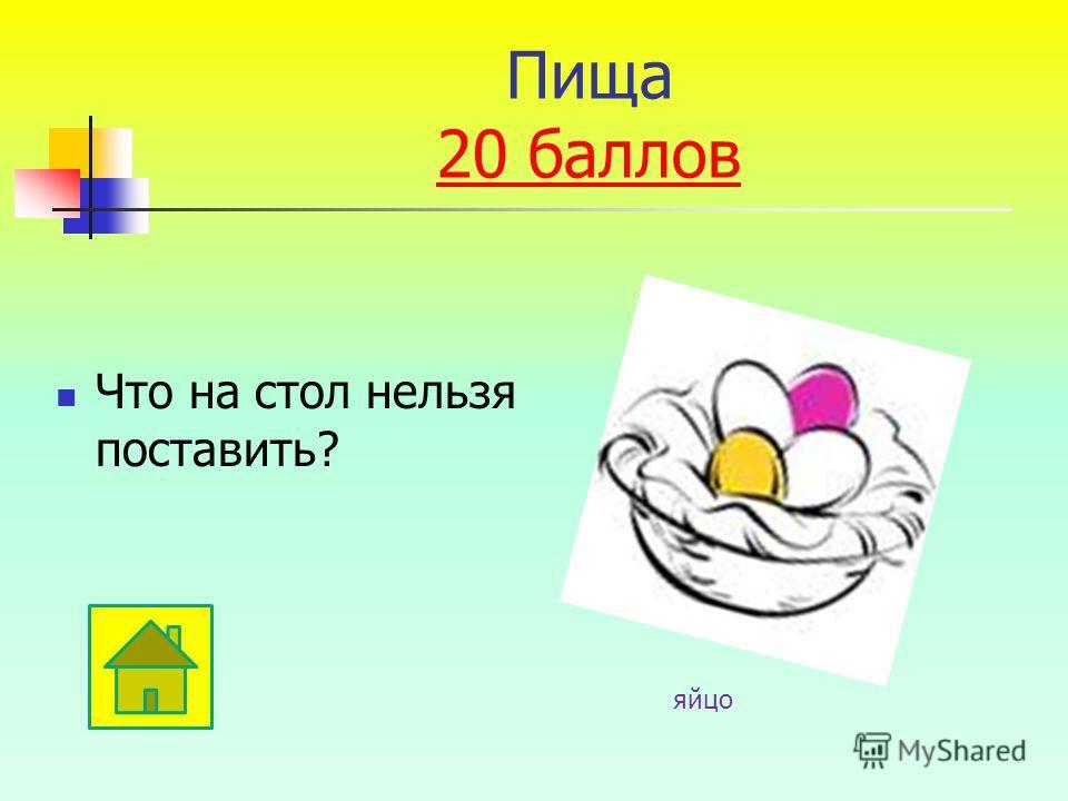 Что на стол нельзя поставить? яйцо Пища 20 баллов 20 баллов