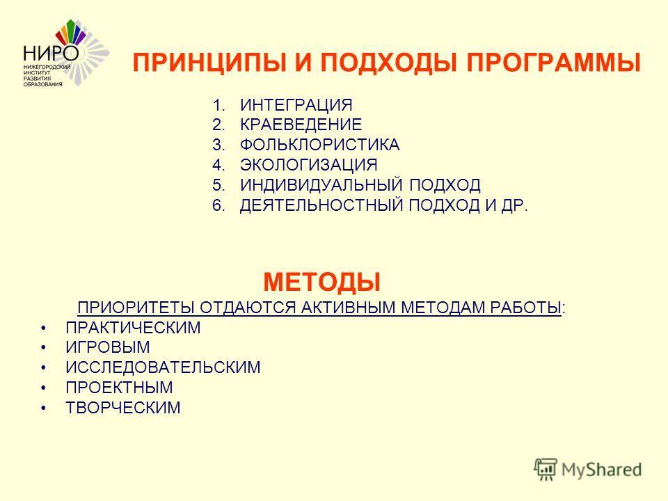 ПРИНЦИПЫ И ПОДХОДЫ ПРОГРАММЫ 1. ИНТЕГРАЦИЯ 2. КРАЕВЕДЕНИЕ 3. ФОЛЬКЛОРИСТИКА 4. ЭКОЛОГИЗАЦИЯ 5. ИНДИВИДУАЛЬНЫЙ ПОДХОД 6. ДЕЯТЕЛЬНОСТНЫЙ ПОДХОД И ДР. МЕТОДЫ ПРИОРИТЕТЫ ОТДАЮТСЯ АКТИВНЫМ МЕТОДАМ РАБОТЫ: ПРАКТИЧЕСКИМ ИГРОВЫМ ИССЛЕДОВАТЕЛЬСКИМ ПРОЕКТНЫМ Т