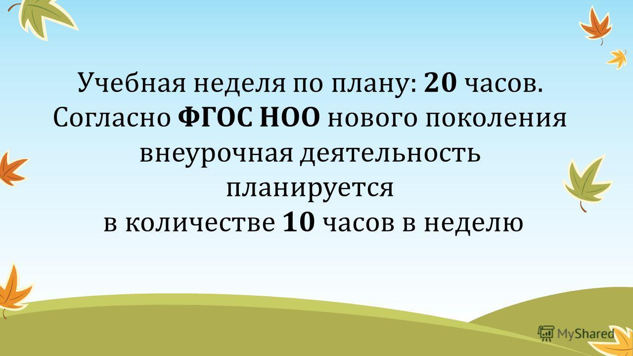 Учебная неделя по плану: 20 часов. Согласно ФГОС НОО нового поколения внеурочная деятельность планируется в количестве 10 часов в неделю