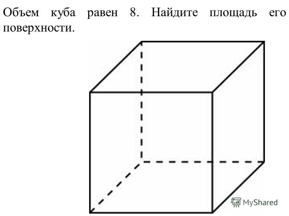 Объем куба равен 8. Найдите площадь его поверхности.