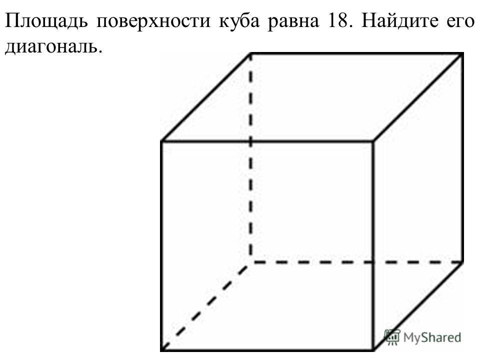 Площадь поверхности куба равна 18. Найдите его диагональ.