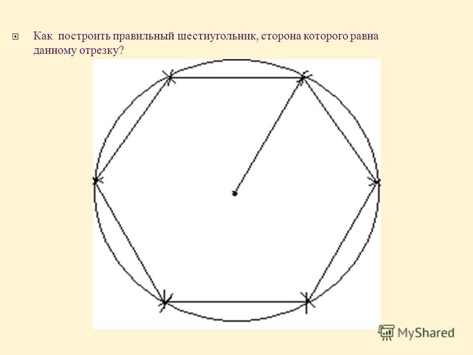 Как построить правильный шестиугольник, сторона которого равна данному отрезку ?