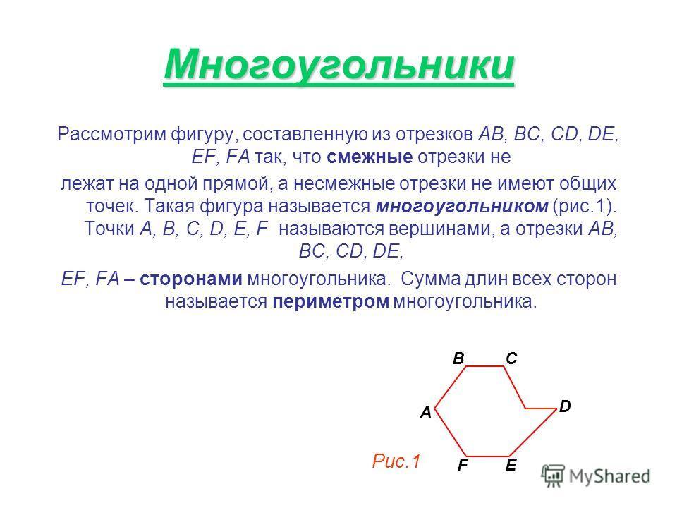 Многоугольники Рассмотрим фигуру, составленную из отрезков AB, BC, CD, DE, EF, FA так, что смежные отрезки не лежат на одной прямой, а несмежные отрезки не имеют общих точек. Такая фигура называется многоугольником (рис.1). Точки А, В, С, D, E, F наз
