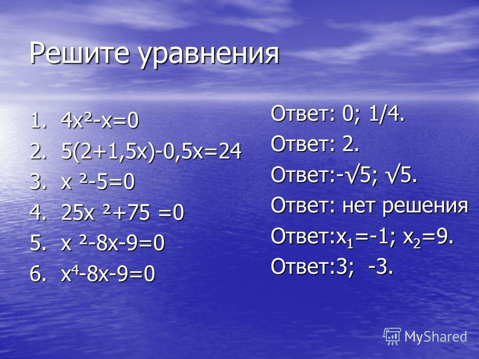 Решите уравнения 1. 4х²-х=0 2. 5(2+1,5х)-0,5х=24 3. х ²-5=0 4. 25х ²+75 =0 5. х ²-8х-9=0 6. х 4 -8х-9=0 Ответ: 0; 1/4. Ответ: 2. Ответ:-5; 5. Ответ: нет решения Ответ:х 1 =-1; х 2 =9. Ответ:3; -3.