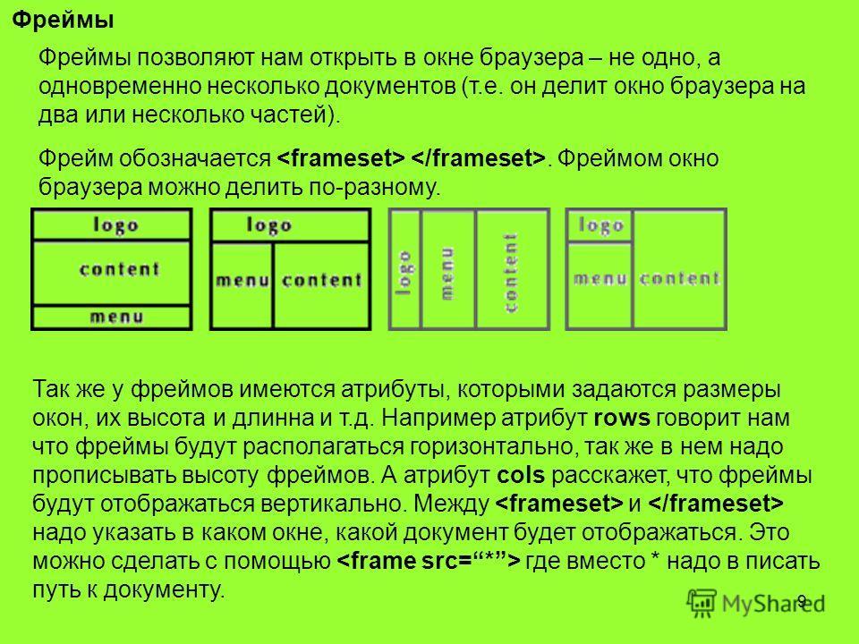 9 Фреймы Фреймы позволяют нам открыть в окне браузера – не одно, а одновременно несколько документов (т.е. он делит окно браузера на два или несколько частей). Фрейм обозначается. Фреймом окно браузера можно делить по-разному. Так же у фреймов имеютс