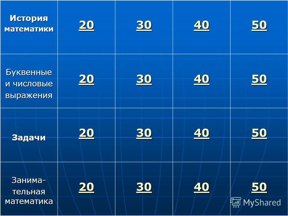 Историяматематики 20 30 40 50 Буквенные и числовые выражения 20 30 40 50 Задачи 20 30 40 50 Занима- тельная математика 20 30 40 50