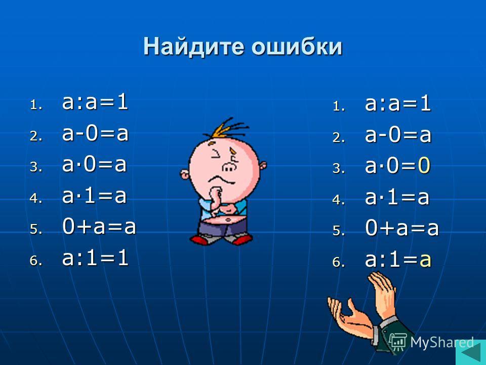 Найдите ошибки 1. а:а=1 2. а-0=а 3. а·0=а 4. а·1=а 5. 0+а=а 6. а:1=1 1. а:а=1 2. а-0=а 3. а·0=0 4. а·1=а 5. 0+а=а 6. а:1=а