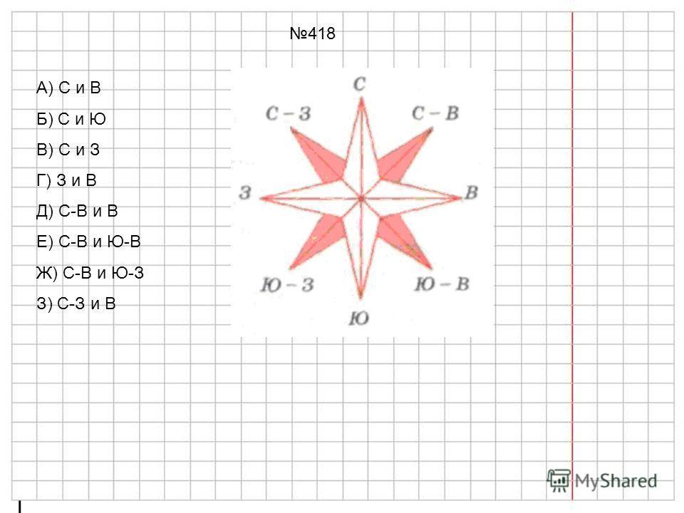 418 А) С и В Б) С и Ю В) С и З Г) З и В Д) С-В и В Е) С-В и Ю-В Ж) С-В и Ю-З З) С-З и В