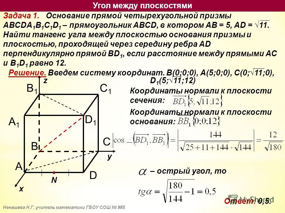 Задача 1. Основание прямой четырехугольной призмы АВСDА 1 В 1 С 1 D 1 – прямоугольник АВСD, в котором АВ = 5, AD = 11. Найти тангенс угла между плоскостью основания призмы и плоскостью, проходящей через середину ребра AD перпендикулярно прямой BD 1,