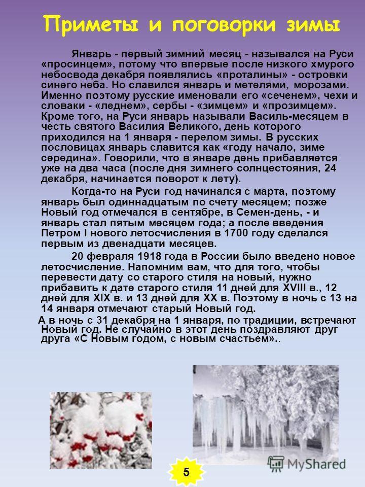 Приметы и поговорки зимы Январь - первый зимний месяц - назывался на Руси «просинцем», потому что впервые после низкого хмурого небосвода декабря появлялись «проталины» - островки синего неба. Но славился январь и метелями, морозами. Именно поэтому р