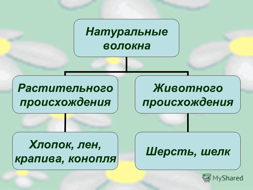 Натуральные волокна Растительного происхождения Хлопок, лен, крапива, конопля Животного происхождения Шерсть, шелк