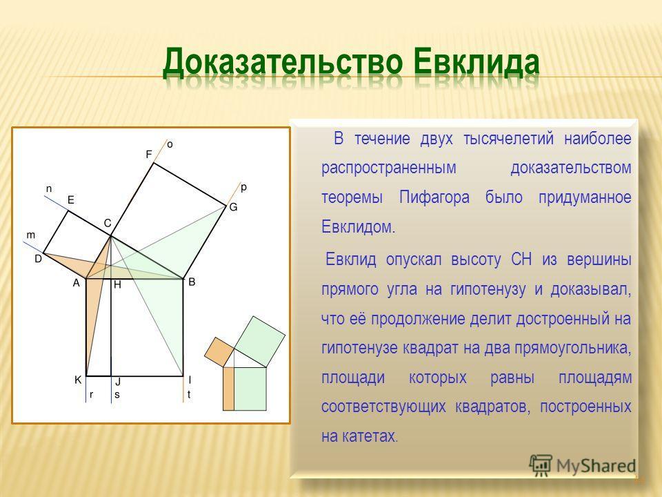В течение двух тысячелетий наиболее распространенным доказательством теоремы Пифагора было придуманное Евклидом. Евклид опускал высоту СН из вершины прямого угла на гипотенузу и доказывал, что её продолжение делит достроенный на гипотенузе квадрат на