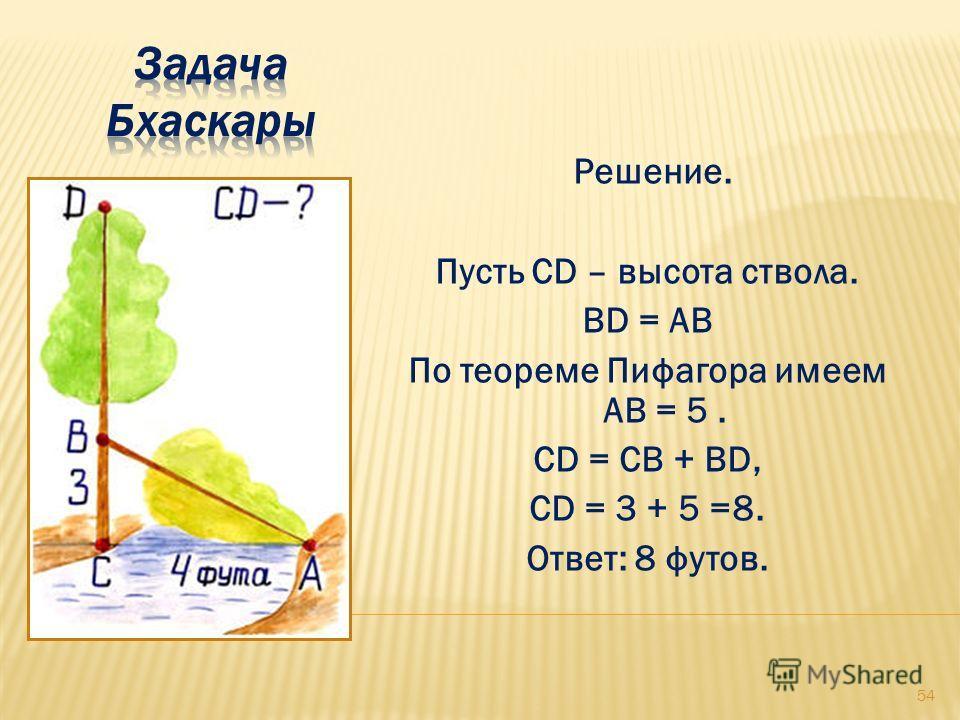 Решение. Пусть CD – высота ствола. BD = АВ По теореме Пифагора имеем АВ = 5. CD = CB + BD, CD = 3 + 5 =8. Ответ: 8 футов. 54